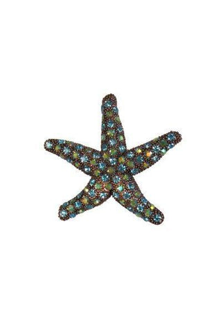 2.5 Inch starfish brooch, copper/blue/green