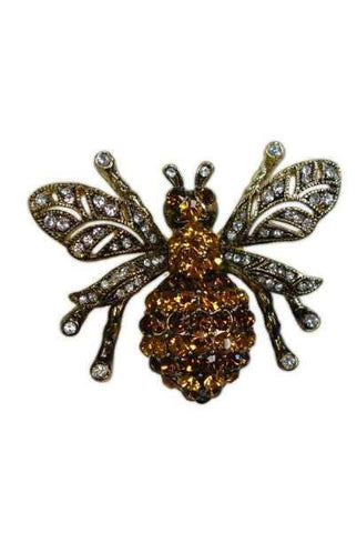 French Bee Brown,Gold,  Swarovski, Gold,Brown