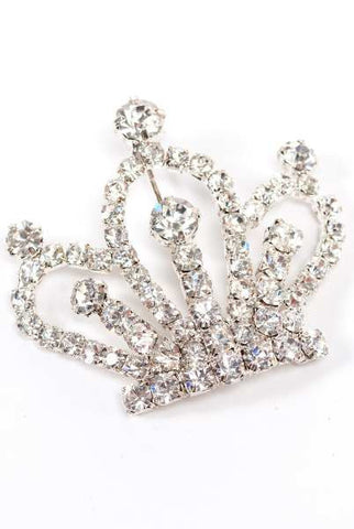 Large Silver Crown Brooch