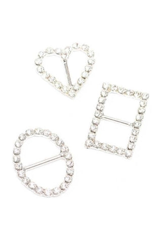 Small Set,3 Buckles- Heart, Circle, Rectangle, Silver