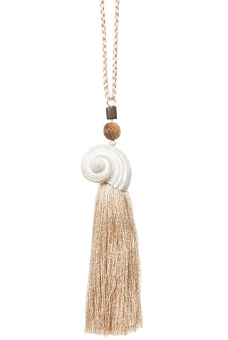 Conical Shell Ivory, Beige Tassel