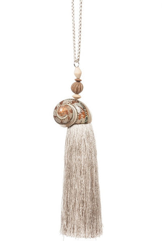 Conical Rust Shell, Dark Taupe Tassel