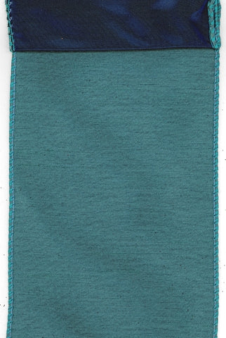 4 Inch x 10 Yards faux dupion w/blue back, turquoise