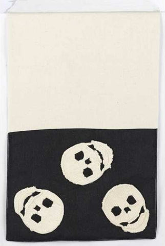 Applique Skulls Canvas/Hopsack Table Runner, Cream/Black...Designed By D.Stevens