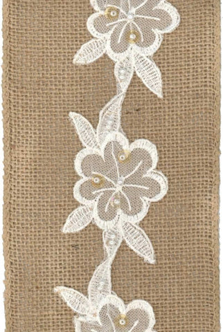 Burlap Applique Lace Flowers, Natural...Designed By D.Stevens