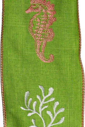 Linen With  Pink Seahorse And White Seaweed, Green...Designed By D.Stevens