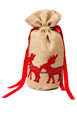 Burlap Wine Bag, Red Reindeer...Designed By D.Stevens