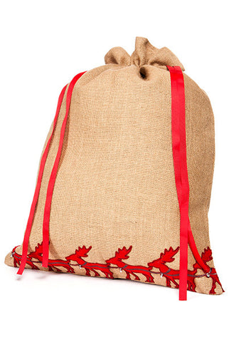 Burlap Red Reindeer Christmas Present Bag, Natural