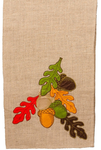 Acorns And Leaves Burlap Runner...Designed By D.Stevens