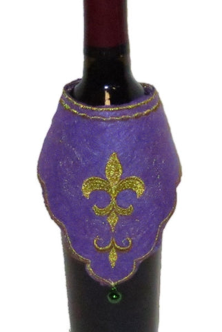 Felt Wine Bottle Kerchief, Mardi Gras Package Of 6...Designed By D.Stevens