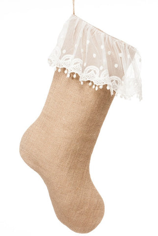 Burlap Sheer Scalloped Lace Stocking, Natural