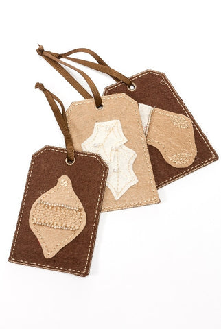 Felt Ornament Warehouse Tags, Brown S/3...Designed By D.Stevens