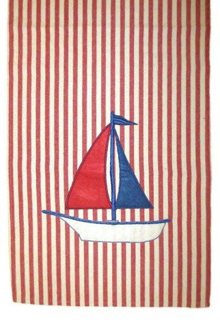 Striped Canvas Sailboat Runner, Red,Cream,Blue...Designed By D.Stevens