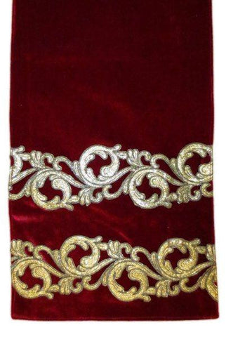 Velvet Christmas Runner Gold Glitter Acanthus, Dark Red...Designed By D.Stevens