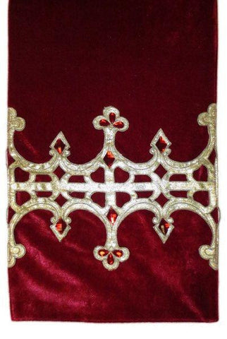 Velvet Christmas Runner Gold Glitter Jeweled Crown, Dark Red...Designed By D.Stevens