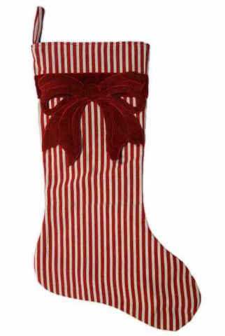 Canvas Stripe Stocking Withred Heather Felt Bow Red White