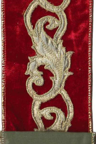 Velvet Gold Acanthus Trim With Vintage Teal Faux Dupion Back, Red