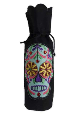 Felt Wine Bag Embroidery Teal Multi-Color Skull, Black