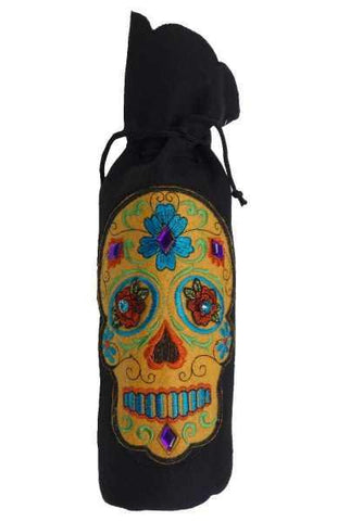 Felt Wine Bag Embroidery Orange Multi-Color Skull , Black