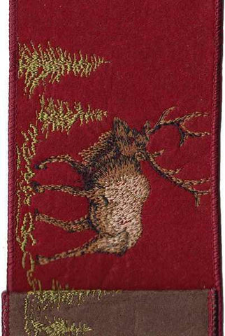 Felt Embroidery Caribou Red