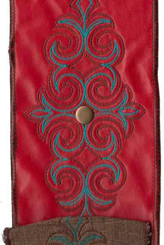 Faux Leather Fleur De Lis Medallion, With Metal Snap, Red/Turquoise