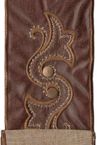 Faux Leather Double Horn Medallion With Metal Snap, Dark Brown