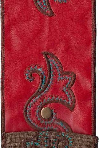 Faux Leather Double Horn Medallion, With Metal Snap, Red/Turquoise