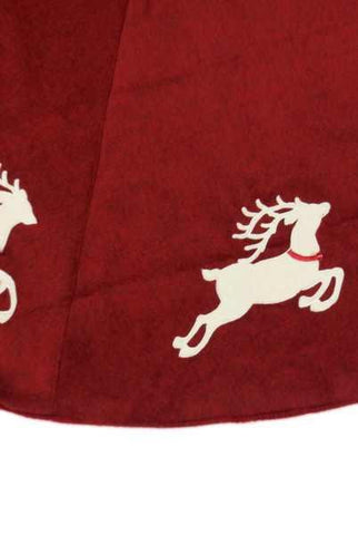 Heather Felt Tree Skirt Cream Applique Reindeer, Red