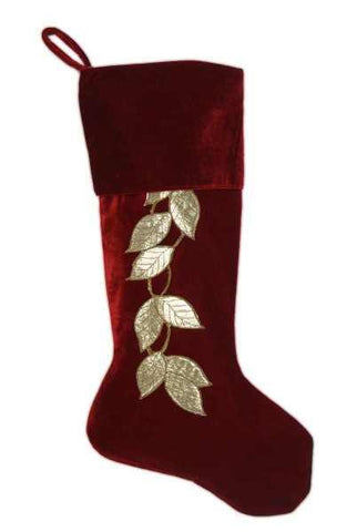Stocking Velvet Gold Leaves Stocking Gold Dark Red