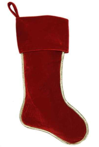 Velvet Stocking Gold Lame Accents Red