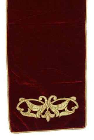 Velvet Dupion Beaded Applique Runner Gold Dark Red