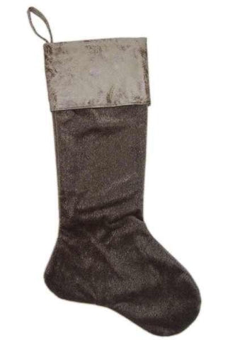 Faux Horsehair Vintage Leather Cuff Stocking Sable