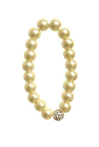 Faux Pearl And  Crystal Bracelet, Cream
