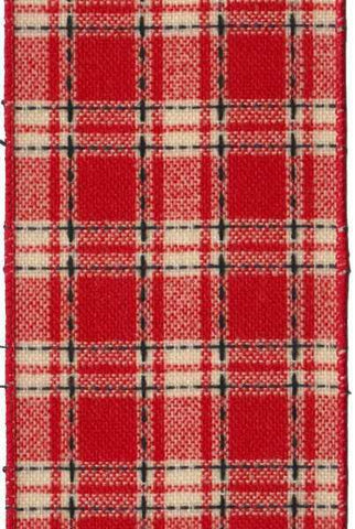 Black Stitched Plaid Red Cream