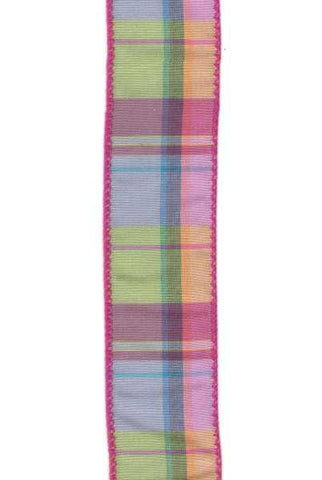1.5 Inch x 50 Yards, faux dupion plaid, bright colors, hot pink edge