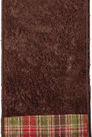 Faux Wool Velvet Plaid Back Brown