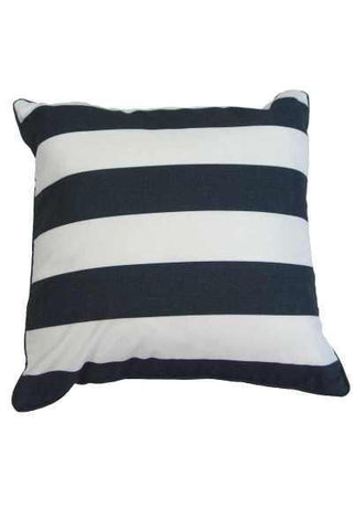 18 Inch x 18 Inch polyester cotton cabana stripe pillow, black/white ( insert Included)