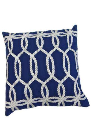 18 Inch x 18 Inch canvas embroidery Natuical rope pillow, white/navy (insert included)