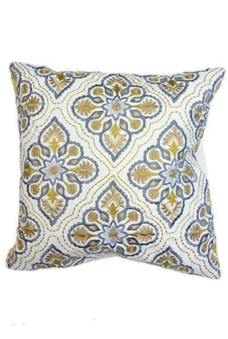 18 Inch x 18 Inch canvas embroidery Italian tile motif pillow, blue/yellow (insert included)