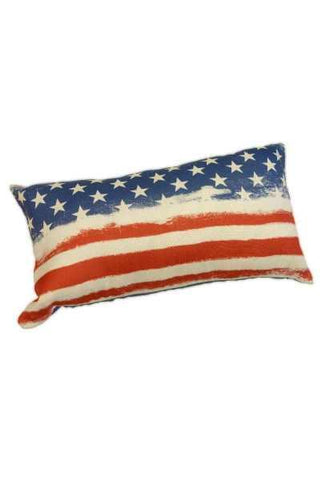 12 Inch x 22 Inch polyester linen American flag pillow blue back, red/white/blue (insert included)