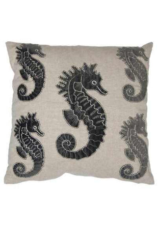 18 Inch x 18 Inch linen grey applique seahorse pillow, natural (insert included)