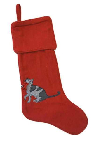 Faux Wool Stocking Applique Grey Cat Red