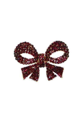 Crystal Bow Brooch Gold/Red