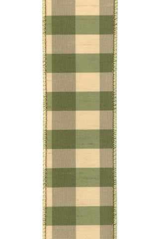 2.5 Inch X 10Yds Sun Valley Check Olive Gold