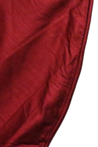 Taj Mahal Faux Silk Table Skirt With Piping, Burgundy