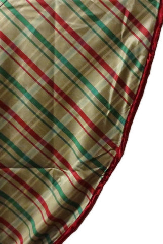 Faux Dupioni Plaid Table Skirt  With Velvet Piping, Red,Green,Gold