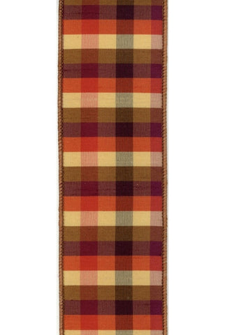 Faux Dupion Autumn Check, Orange/Yellowith Purple