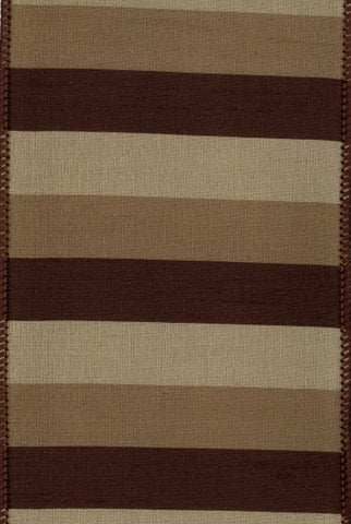 Faux Dupioni Stripes, Brown And Gold