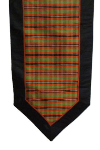 Faux Dupioni Autumn Plaid Runner, Orange,Green,Black