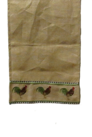 Burlap Rooster Embroidery Table Runner, Natural